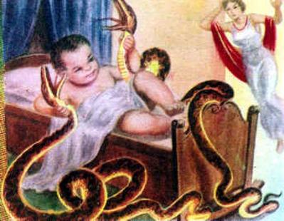 Hercules bebe y dos serpientes