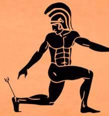 Aquiles herido en el talon por flecha de paris