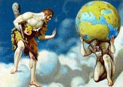 Hercules atlas cielo mito hesperides